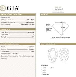 GIA 鑽石 Pear 2.01 F SI1 EX EX N