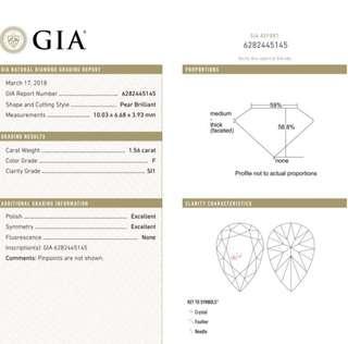 GIA 鑽石 Pear 1.56 F SI1 EX EX N
