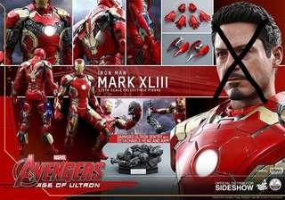 冇頭雕!冇頭雕!冇頭雕!曾display 冇啡盒 Hot Toys Marvel 1/4 Iron Man Mark 43 AOU Age of Ultron Hottoys Ironman