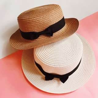 White Brown Beach Hat Imported Boater's Hat