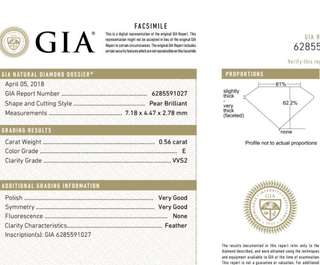 GIA 鑽石 Pear 0.56 E VVS2 VG VG N