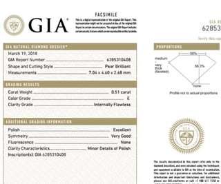 GIA 鑽石 Pear 0.51 E IF EX VG N