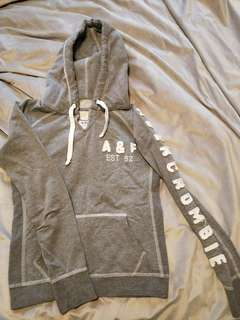 Abercrombie and Fitch light grey hooded jumper