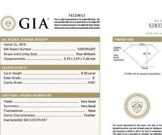 GIA 鑽石 Pear 0.30 G VVS1 VG VG N