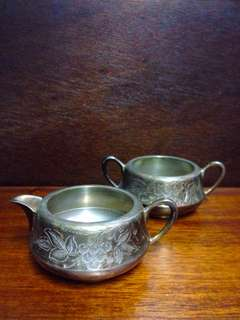 Vintage EPNS Silver Milk Jug and Sugar Bowl with Floral Etchings
