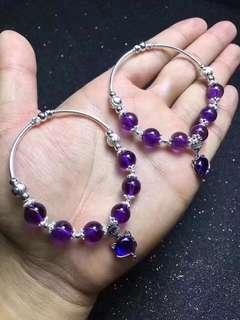 天然紫水晶手鏈 配美人狐吊墜