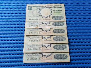 6X 1959 Board of Commissioners of Currency Malaya and British Borneo $1 One Dollar Banknote Currency ( Lot of 6 Pieces )