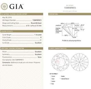 GIA 鑽石 1.16 E I1 3EX N