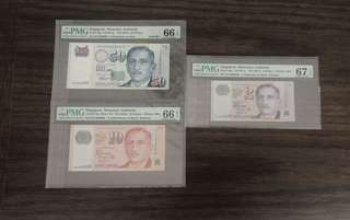 Set of Singapore Portrait$50,$10,2 Solid number 666666 Same Prefix EV with Rare 2 Star