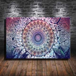 Abstract Mandala Spirit Eye Symbol Paint Canvas Poster No Frame