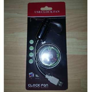 [USED] USB powered fan with LED clock & flexible neck