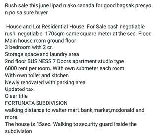 House and lot for sale with 7 studio type rentals