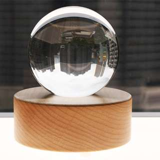 80mm Crystal Ball for Refraction Photography / Furnishing with Wooden Bluetooth Speaker