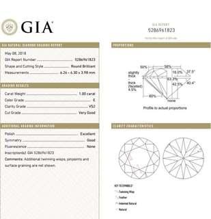 GIA 鑽石 1.00 E VS2 VG EX GD N