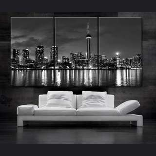 Toronto Canada Downtown City Skyline Canvas Art Painting No Frame