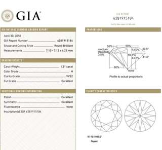GIA 鑽石 1.31 H VVS2 3EX N