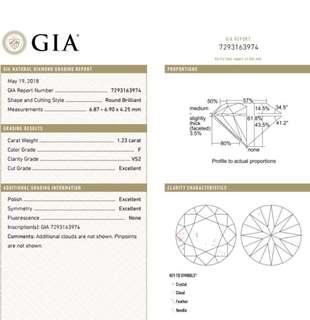 GIA 鑽石 1.23 F VS2 3EX N