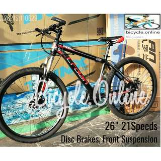 "CROLAN MTB / Mountain Bikes ✩ 26"", 21 Speeds, front suspension, Disc brakes ✩ Brand New Bicycles"