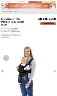3 positions Mothercare Baby Carrier Authentic-Preloved