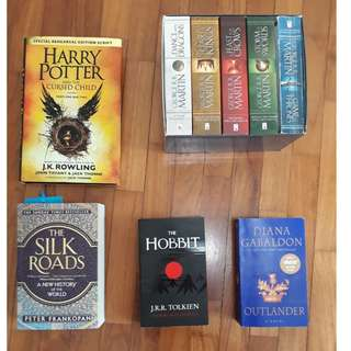 Various books: Game of Thrones series, Harry Potter, Outlander, Hobbit and more