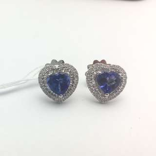 2卡68份坦桑石 62份鑽石 18K白金耳環 18K Withe gold 2.68ct Tanzanite 0.62ct Diamond Earrings 可議價