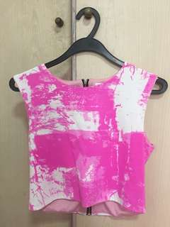 pink and white crop top