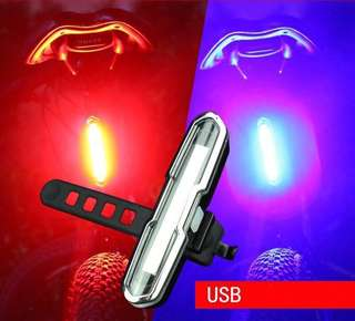 USB Rechargeable Bicycle Tail Light Red/Blue