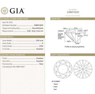GIA 鑽石 2.50 D VVS2 3EX N