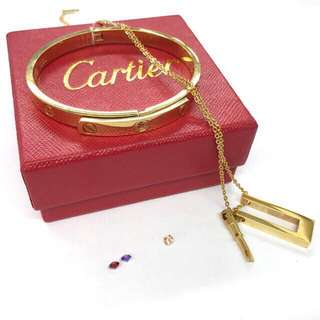 Cartier Diamond Bangle with Screw Necklace