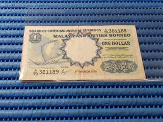 1959 Board of Commissioners of Currency Malaya and British Borneo $1 One Dollar A/19 381189 Dollar Banknote Currency Waterlow