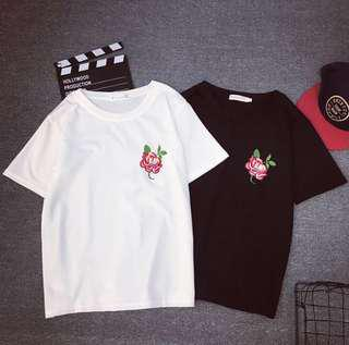 [INSTOCK] WHITE ROSE EMBROIDERED TEE