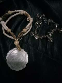 Capiz rose big pendant necklace bundle with clear bracelet