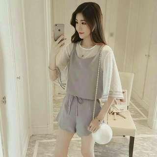 #預購 #女裝 新款韓版時尚小香風三件套裝 360元 尺碼👉S~XL 顏色👉卡其/淺灰藍