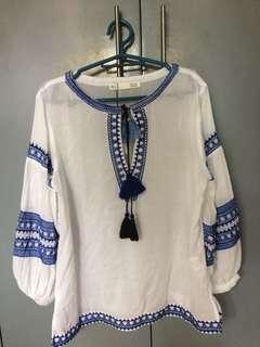 Sfera Boho White and Blue Top