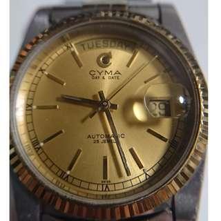 [父親節禮物] Vintage CYMA Day&Date Automatic 古董瑞士司馬錶星期日曆自動男裝 (36mm)