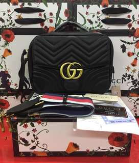 Gucci marmont satchel box bag with printed strap