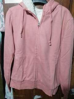 Jaket Hoodie Uniqlo pink salem