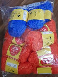 Red Heart Red Orange and Blue Yarns Bundle