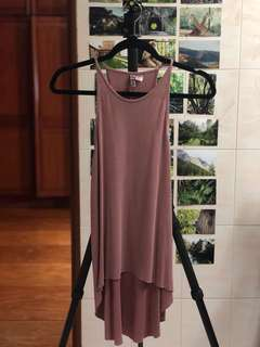 H&M mauve pink cami high low spaghetti strap halter top