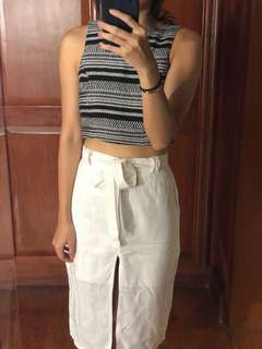 H&M black and white woven stripe cropped top