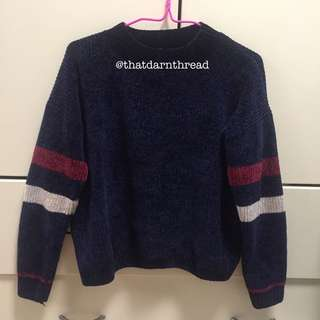 Knitted Stripes Sweater in Navy