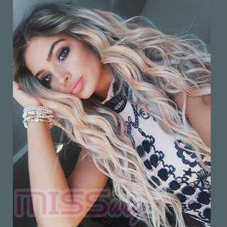 Curly Wig High Temperature Fiber Full Wigs None Lace Front Wig(24/26inch;Black/Blonde)
