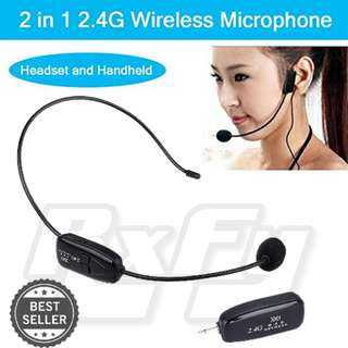 Wireless 2.4G Microphone Mic Headset Handheld 2 In 1, For Voice Amplifier, Speaker, Karaoke, Computer, teacher tour guide coach