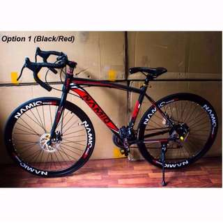Black/Red Namiq Road Bike with Shimano Front Derailleur [Brand New, Ready Stocks]