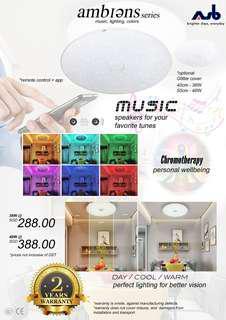 ASB smart home lighting - speaker, white, warm, cool light (adjustable) with glitter