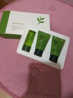 innisfree greentea moisture special kit (moisture cream, toner, esence)