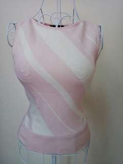 ANTENNA Cream & pink knitted office top UK6 OL Smart casual