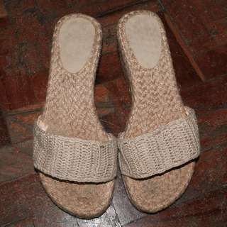 Weaved Wedge -Beige/Nude -shoes size 6