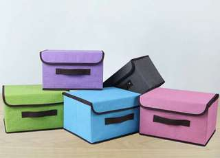 2in1 Plain Color Foldable Storage Box Organizer with Cover