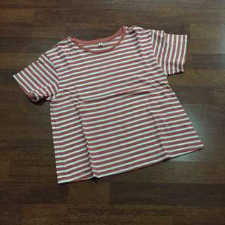 Uniqlo Orange Striped Cropped Shirt